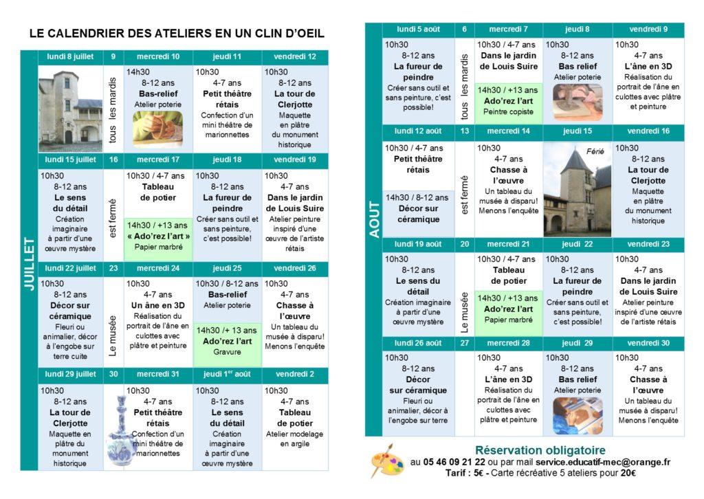 Programme atelier enfant du Musée juillet-août 2019